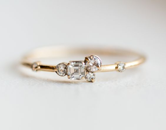 Pinch of sugar mini cluster ring in solid 14k yellow gold by Melanie Casey: