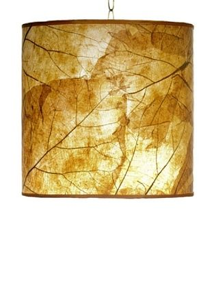 61% OFF Foreign Affairs Natural Teak Leaf Hanging Lamp, Orange