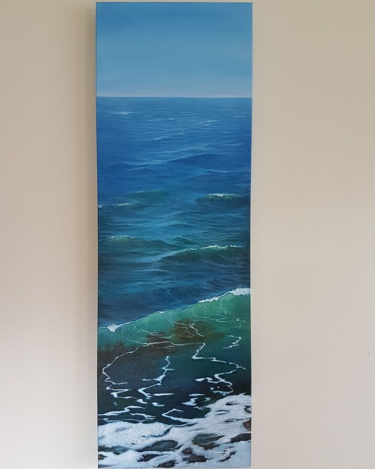 "Feel the West Coast waves lapping at your feet...  36x12"" Acrylic painting by Karen Sargent"
