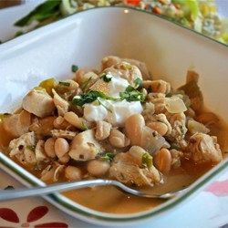 Cha Cha's White Chicken Chili - Allrecipes.com >>> Reduce chicken broth and puree 2 of the cans of beans to make it thick.  Maybe add sour cream.