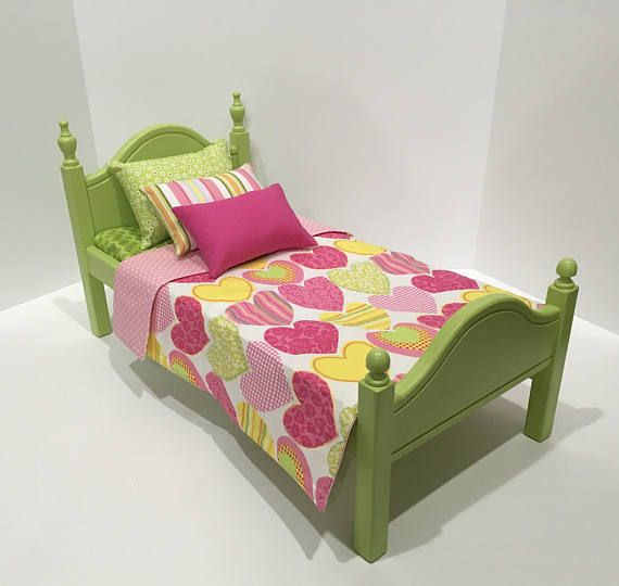 American Girl Doll:  Furniture lime green bed and bedding