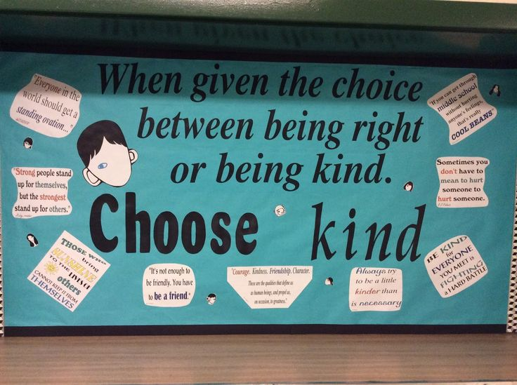 """The latest bulletin board about being kind is based on the book many  students are reading named """"Wonder,"""" by R. J. Palacio."""