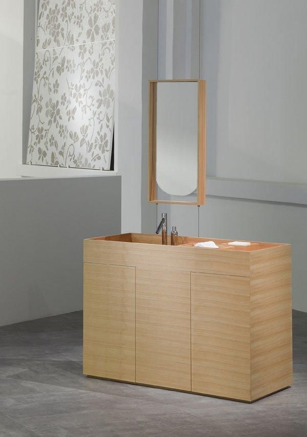 Bathroom wooden washbasin