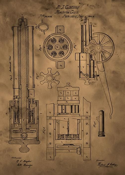 Gatling Gun Patent Canvas Print / Canvas Art by Dan Sproul