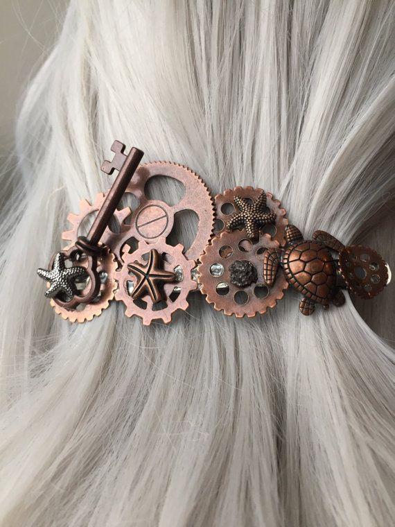 Beach Hair Clip - Steampunk Hair Clip - Starfish Hair Clip - Summer Style Ideas