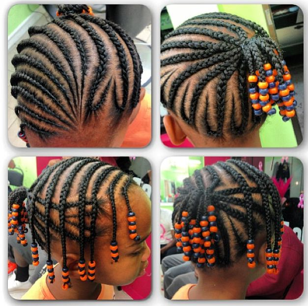 Little girl cornrow updo with beads