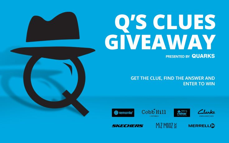 Enter to win: Q's Clues Giveaway! Get the clue, find the answer on quarkshoes.com and enter to win! We're giving away shoes until September 30th. Find out how to win: http://ow.ly/StXnt #giveaway #contest