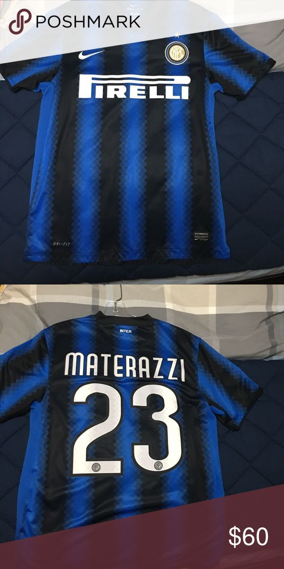 MARCO MATERAZZI INTER MILAN SOCCER JERSEY Authentic Nike Marco Materazzi soccer jersey. Worn only a few times in good condition. Nike Shirts Tees - Short Sleeve