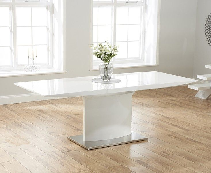 Buy the Hailey 160cm White High Gloss Extending Dining Table at Oak Furniture Superstore