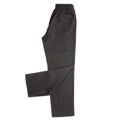 Solid Black Chefs Pant Min 25 - 65/35 Poly Cotton, Elastic Waist with Cotton Drawcord, Both Side Pockets, Two Back Pockets, Twill Fabric. http://www.promosxchange.com.au/solid-black-chefs-pant/p-1465.html