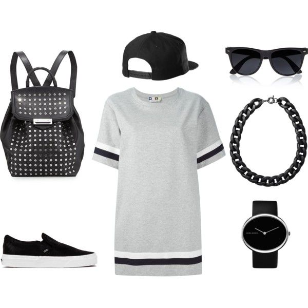 Skater Girl by jadeclaire19 on Polyvore featuring MSGM, Vans, Alexander Wang, Georg Jensen, Monki and River Island