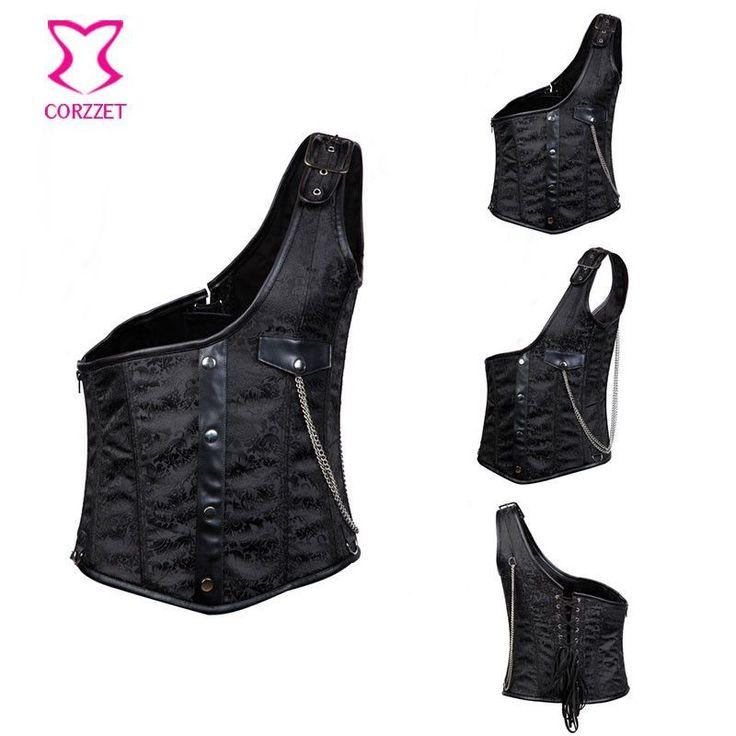 Black One-Shoulder Side Zipper Mens Steampunk Jacket Waist Trainer Vest Waistcoat Men Waist Shaper Corset Gothic Clothing Colete