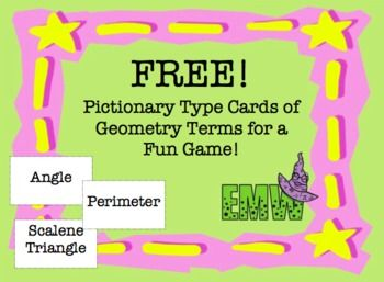 Fifty four simple printable cards of geometry terms for a fun class game for review. Just print, cut, and play! There are six blank cards for you to add other terms.Terms included: 180, 360, 45,90, Acute angle, Angle, Area, Centimeter, Circumference, Compass, Congruent, Cube, Cylinder, Diameter, Equiangular triangle, Equilateral triangle, Hexagon, InchIntersection, Isosceles triangle, Line Segment, Lines, Meter, Obtuse angle, Octagon, Parallel, Parallelogram, Pentagon, Perimeter, ...