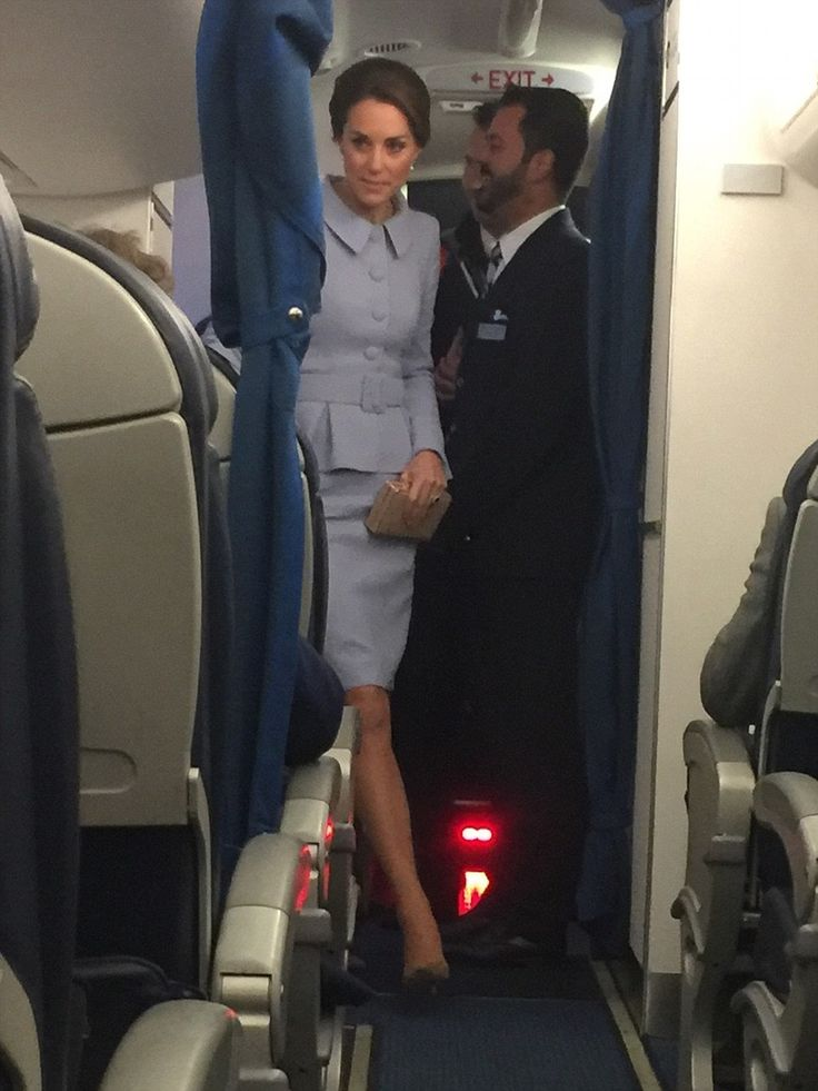 The Duchess of Cambridge stunned plane passengers today by jetting back from her one-day t...