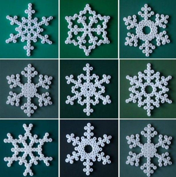 sneeuwvlokken van strijkkralen