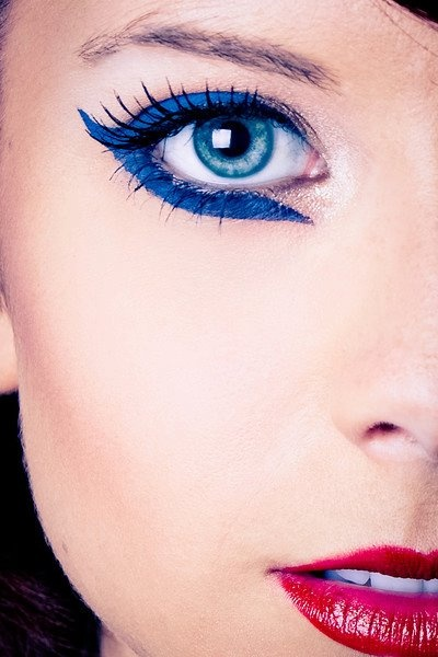 Model Trisha Wilbanks, fun blue eye liner is blue cake liner by Kryolan  Makeup and Photography done by Me