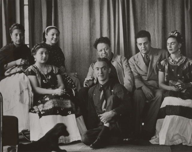 Nickolas Muray, Untitled, published in Life, January 23, 1939. Left to right: Beta and Alfa Ríos Pineda, Rosa Covarrubias, Diego Rivera, Miguel Covarrubias, Frida Kahlo, and Nickolas Muray (seated in front). © Nickolas Muray Photo Archives, courtesy Mimi Muray.