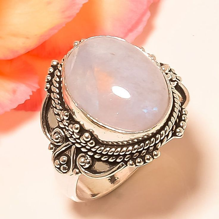 Rainbow Moonstone Vintage Style 925 Sterling Silver Jewelry Ring 8 #Handmade #Statement