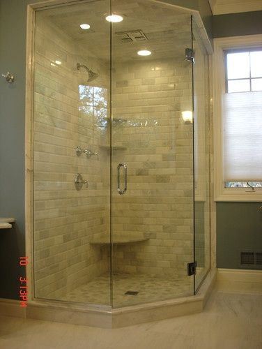 17 best images about corner shower benches shelves on pinterest corner shelves small master - Bathroom remodel corner shower ...