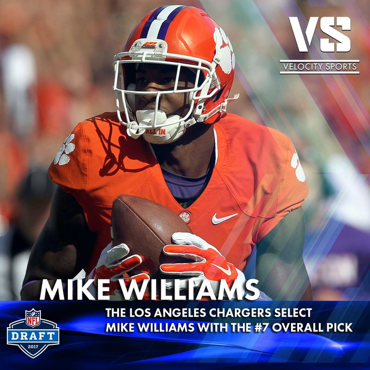 The Los Angeles Chargers select Mike Williams with the #7 overall pick .. .. .. .. #DraftDay #NFL #NFLdraft #NFLdraft2017 #football #sports #Chargers #velocitysports #LosAngeles #LAChargers #MikeWilliams
