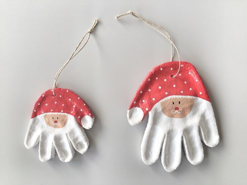 Last-Minute Christmas DIY: Hand Print Santa Ornaments