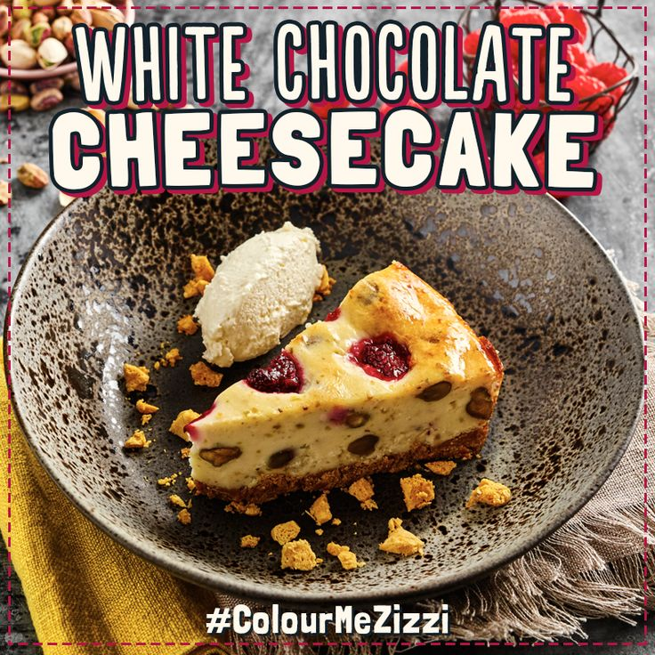 White Chocolate Cheesecake baked with raspberries & pistachio nuts. Served with crumbled honeycomb & whipped mascarpone cream. #ColourMeZizzi