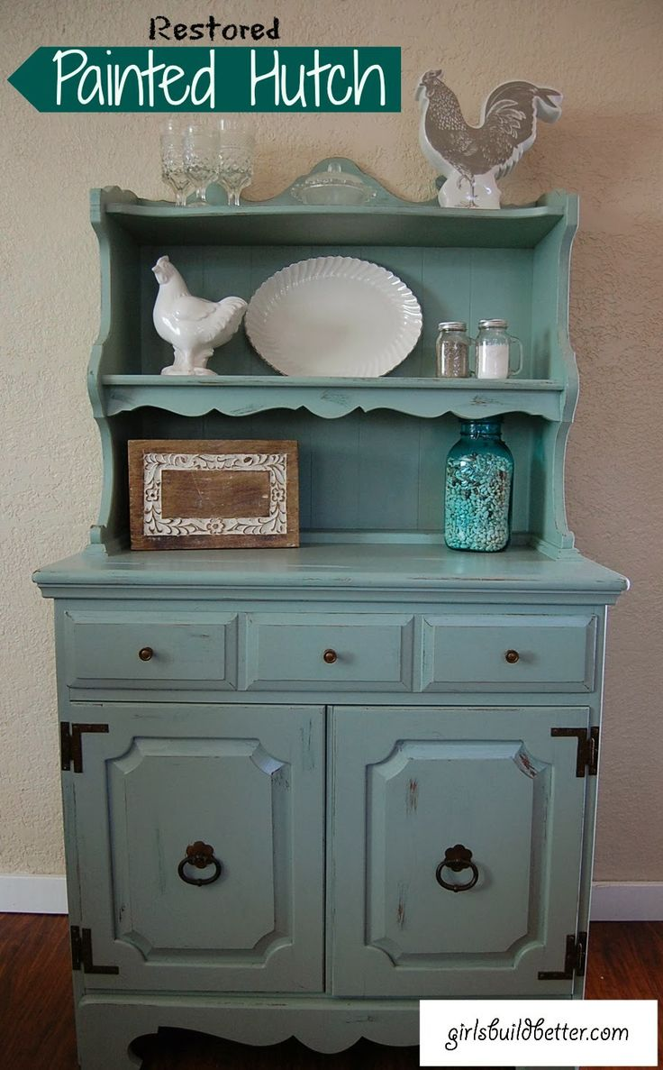 Restored Painted Hutch by girlsbuildbetter.blogspot.com Love this! This girl is amazing!!!