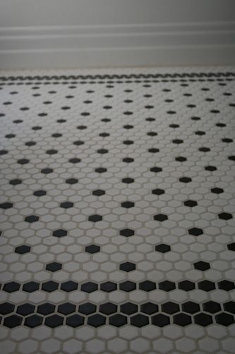 Black and white hex tiles with border. Lois I think this is what I am doing!