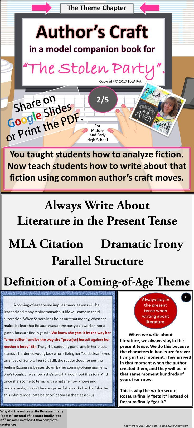 Author S Craft In The Stolen Party Model Companion Book 2 5 Theme Chapter Review Brackets Parallel Structure Writing Units Author Middle School Writing