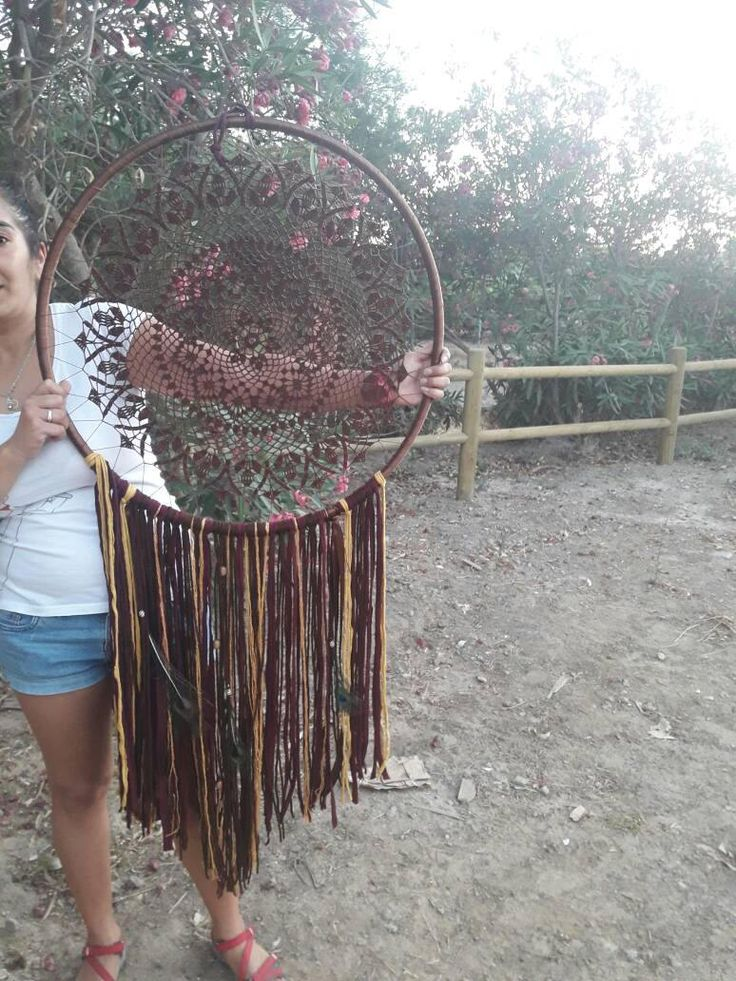Dreamcatchers, crochet hookahs, for weddings, wall hanging, brown and mustard colors, beads, feathers, 65 cm wide, de naimacrochethandmade en Etsy