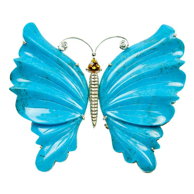 1998  Beautiful Statement hand carved Natural Turquoise 14k yellow Gold Butterfly Brooch Pin Pendant