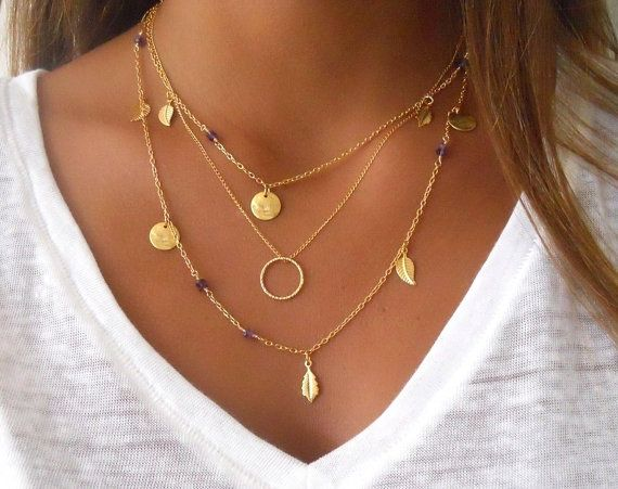 Gold Layered Necklace Set  Ring Amethyst Stone and Charms