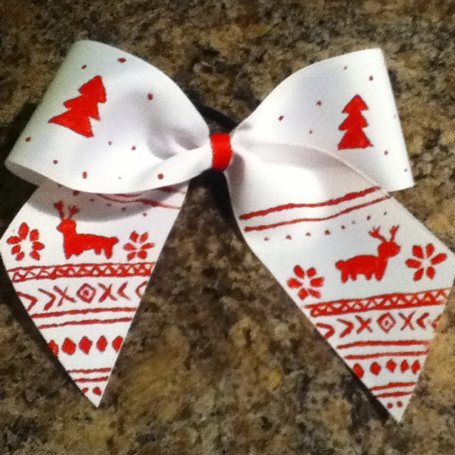 ugly reindeer christmas sweater cheer bow! i spent a while doing this