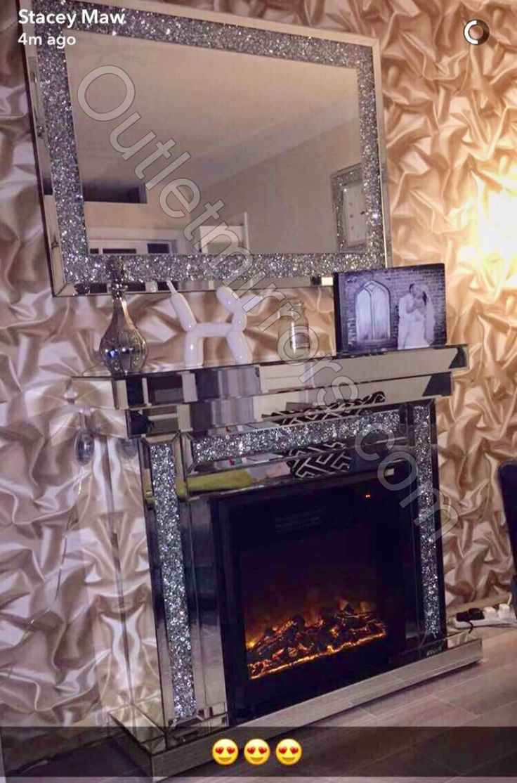 Diamond crush mirrored fire surround and electric fire