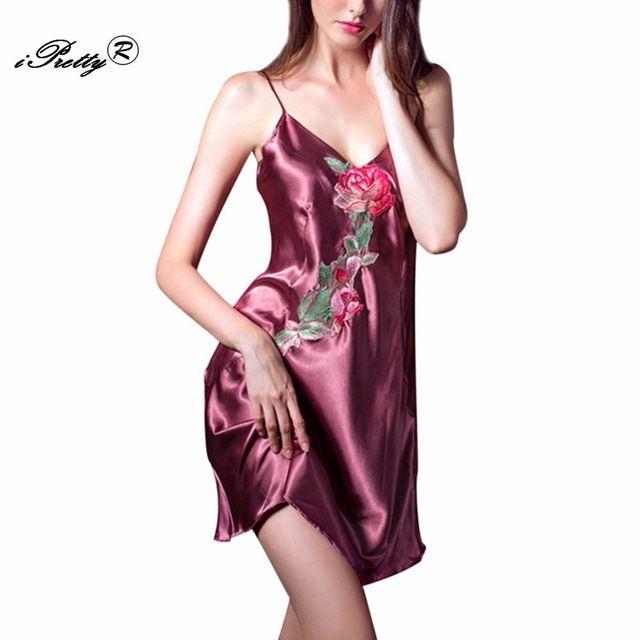 IShine Kobiety Slik Kwiaty haftowane Bielizna Koszula Nocna Sexy Panie Luksusowe Satin Sukienka Pasek Koszule Nocne Baby Dolls