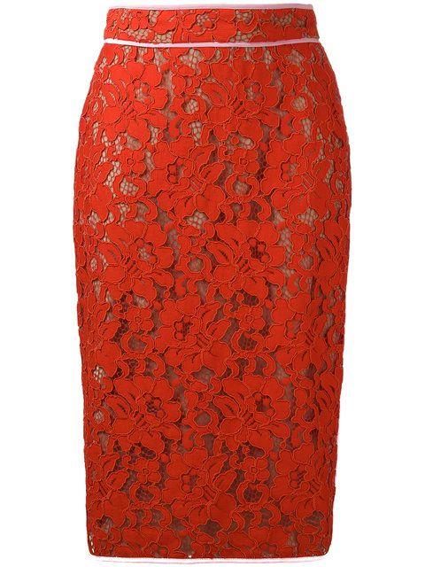 Shop MSGM lace pencil skirt .