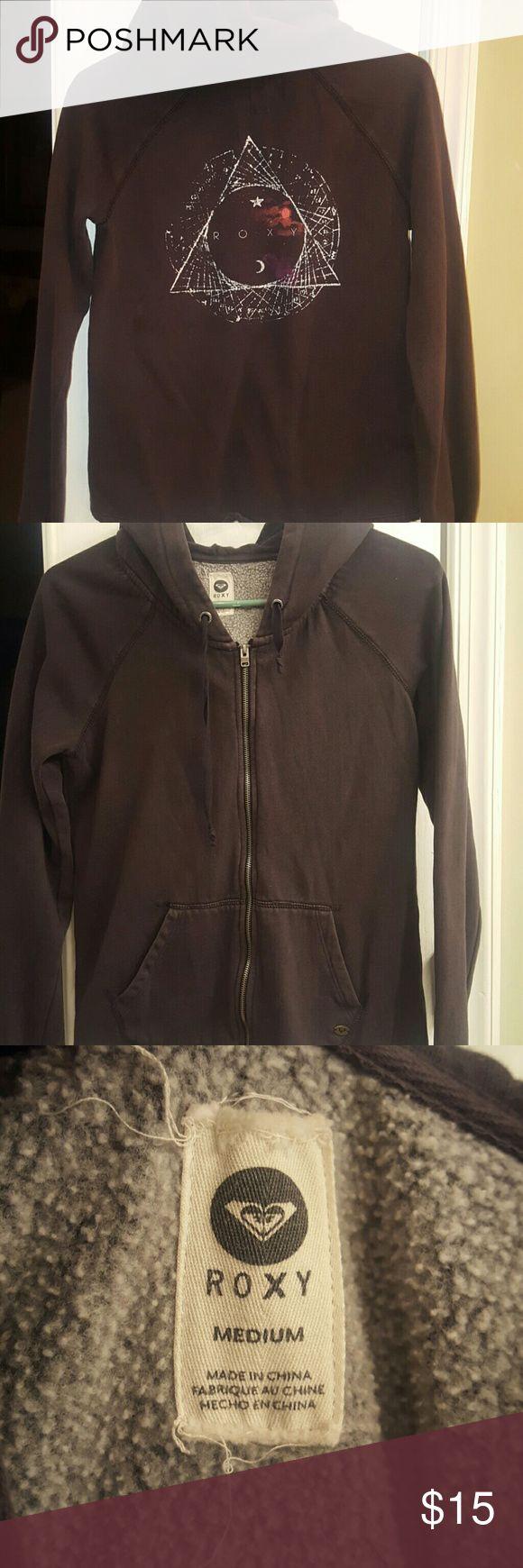 Roxy Zip up Hoodie Size medium Roxy zip up hoodie. Black Roxy Tops Sweatshirts & Hoodies