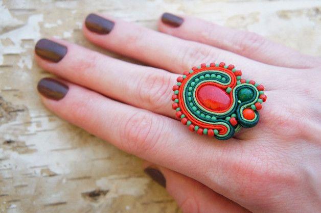 pierścionek soutache, sutasz folk - Cattaleya-sutasz - Pierścionki