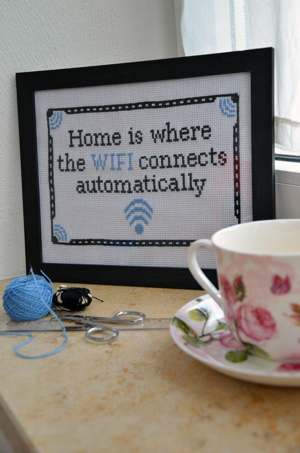 Funny cross stitch, wifi, teacup