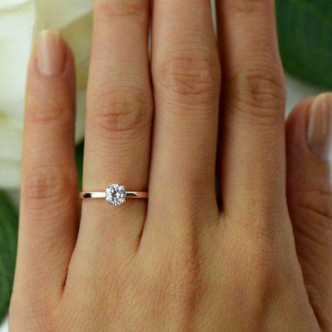 Etsy 1/2 ct Promise Ring, Solitaire Ring, Simulador artificial de diamantes, Boda …   – Wedding