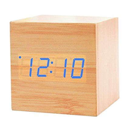 Hualite Alarm Clock, Modern Wooden Electronic Digital Led Time Calendar Thermometer Nightlight Voice Activated Desk Bedside Alarm Clock Gift for kids and Office Home Decoration