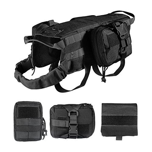 Feliscanis Tactical Dog Vest Training Molle Harness with 3 Detachable Pouches Black Size M