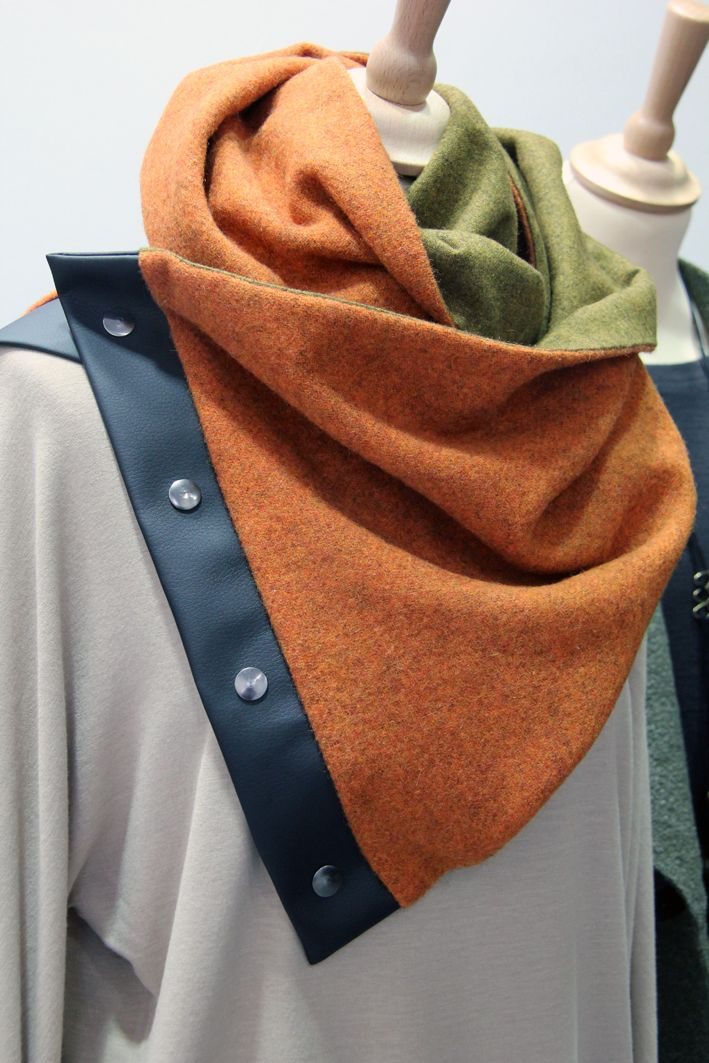 orange green scarf wool leather