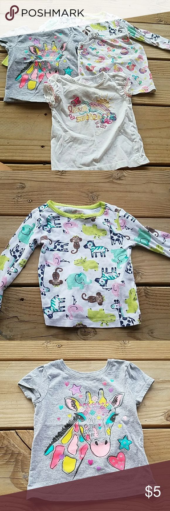 2t Toddler Bundle. 4 Shirts Wonderkids animal long sleeve pajama shirt, Garanimals grey giraffe shirt, Wonderkids mermaid top, OshKosh B'gosh white love and smiles shirt Shirts & Tops