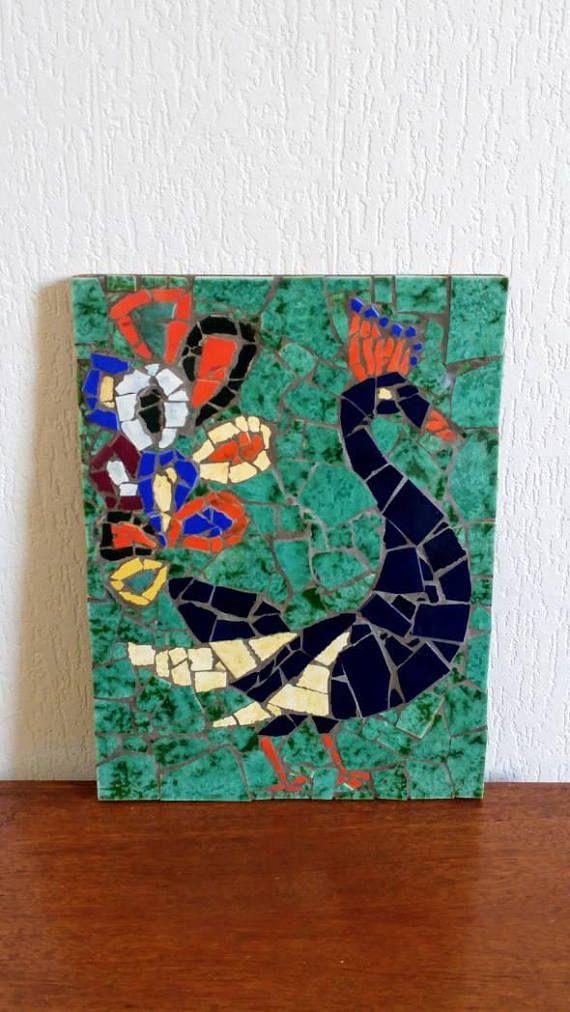 Bekijk dit items in mijn Etsy shop https://www.etsy.com/nl/listing/541824414/vintage-70s-peacock-mosaic-wall-art