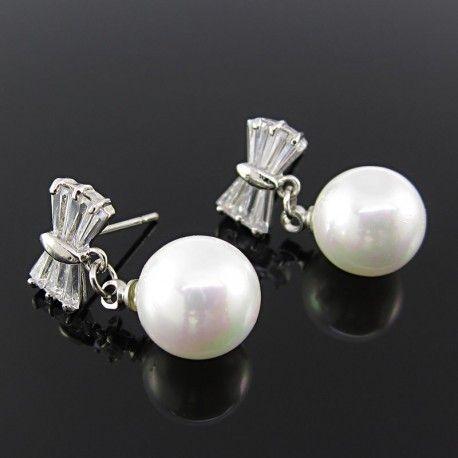 Aretes Mujer Rodinados baño oro blanco zircon zirconia y perlas majorica