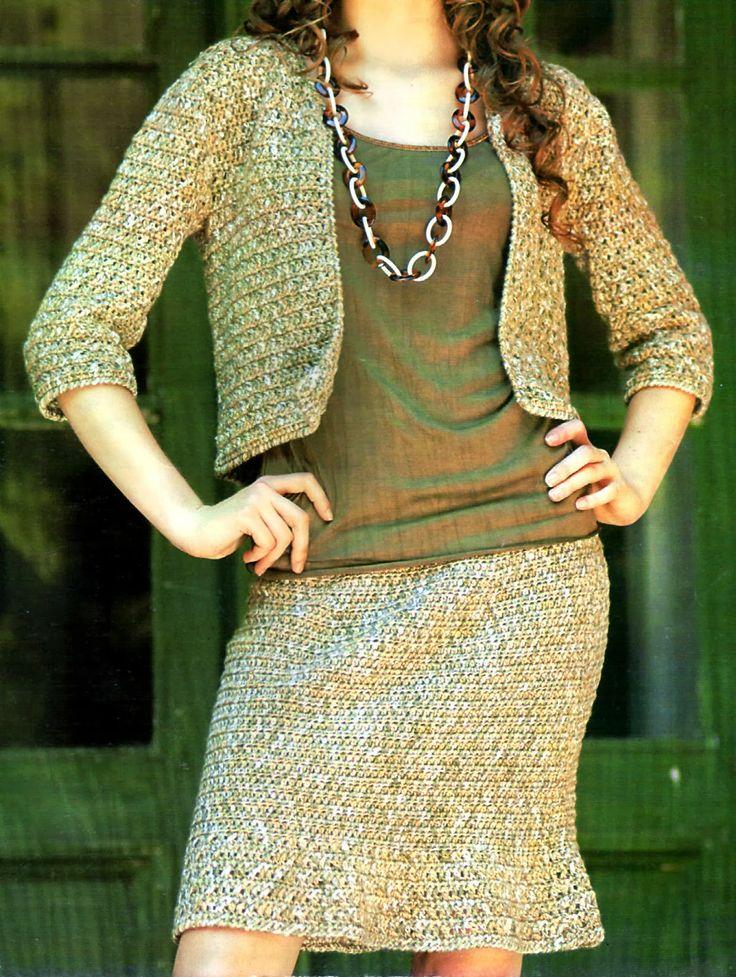 tejidos artesanales: tailleur tejido en crochet (talle 42)