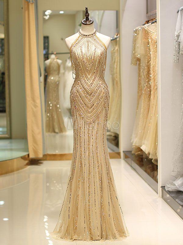 Abschlussballkleider langes helles Goldhalfter-schweres wulstiges Maxi-Luxus-Abendkleid   – Occasion Dress, Evening Dress, Party Dress