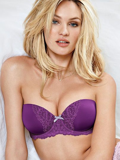 Worn by : Angel Candice Swanepoel  Type : Multi Way Bra  Color : Rich Grape with Cross Dye Lace