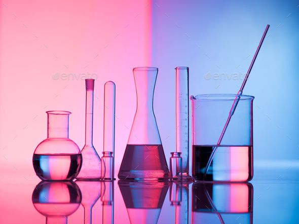 Glass Science By Shotsstudio Different Laboratory Glassware With Water And Empty With Reflection Pink And Laboratory Science Laboratory Design Science Photos
